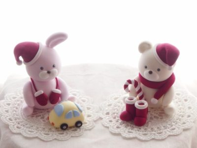 クリスマス子供粘土教室2015ウサギとクマのサンタクロース