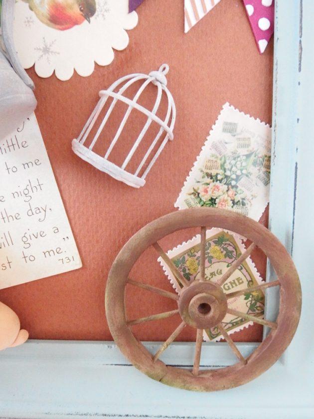 コラージュ作品 ガーデン 車輪と鳥かご