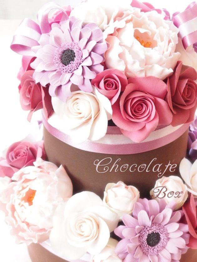チョコレートケーキボックスアレンジ / クレイクラフト クレイフラワー
