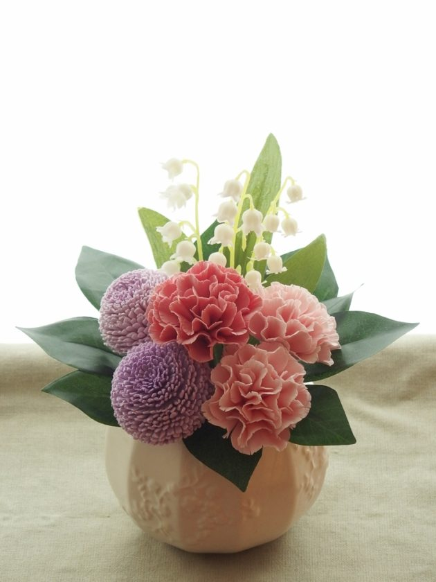 アジサイとポンポン菊の仏花アレンジ / クレイクラフト クレイフラワー