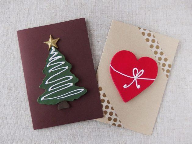 クレイクラフト クリスマスカード&ハートのカード